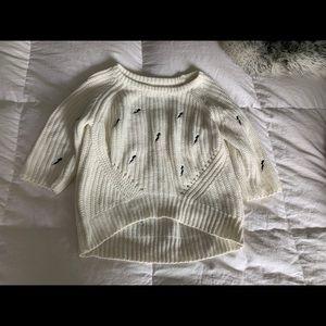 Cream Thin sweater Lighting Bolt